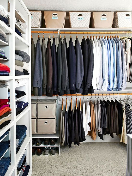 Narrow shoe shelves enable you to use even the smallest areas in a master bedroom closet. To better store and organize clothes, consider dividing them by type, color, or season.