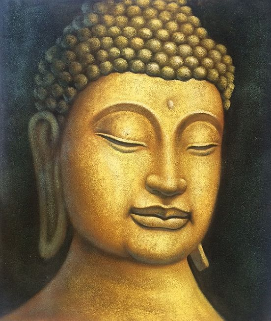 Golden Buddha painting. www.dosadeco.nl Handmade oilpainting with special color.