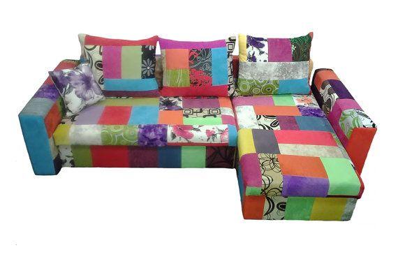 UNIQUE Design Corner Sofa Bed TORINO in Patchwork multicoloured