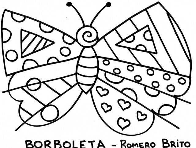 Romero Britto para colorir - Borboleta