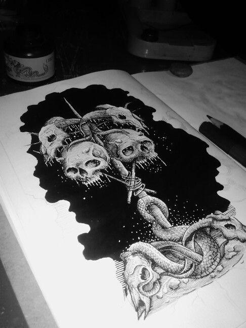 Progres linework darkart, illustration,  #darkart #inked #blackwork #atsakti #death #draw