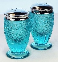 Blue / Aqua Glass Fenton salt and pepper shakers
