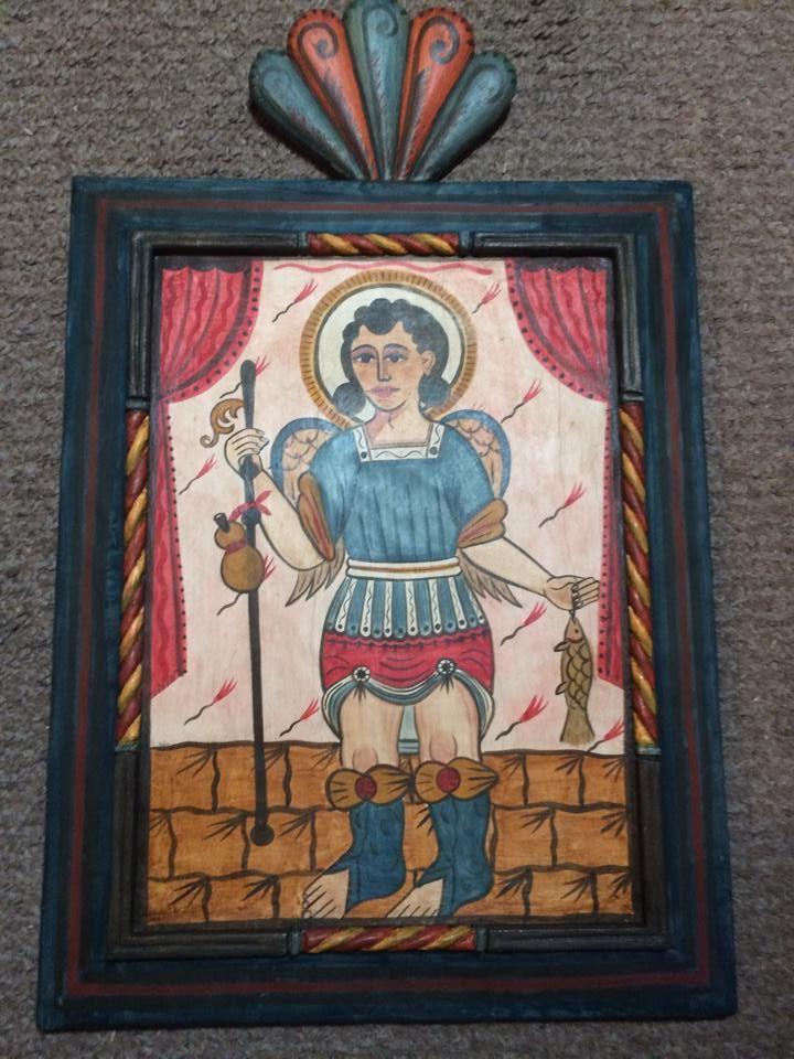 One of Adan Carriaga's bultos (San Rafael Arcangel -'Medico de Dios' Patron of healing - 2014 in a private collection. Visit the Winter Spanish Market in Albquerque, NM on Nov 28 & 29.