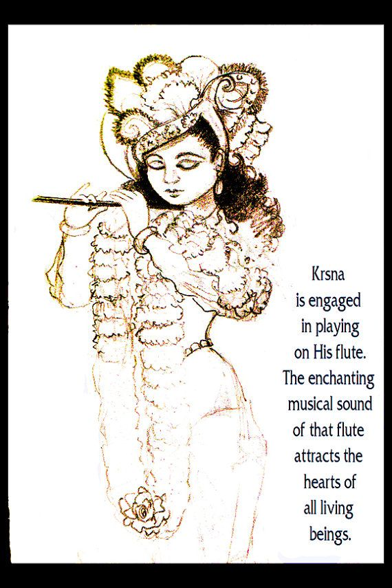 Print of Original drawing, inspirational message, Krishna, India, flute, wall art, home decor, illustration, sketch