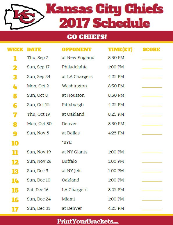 2017 Kansas City Chiefs Football Schedule