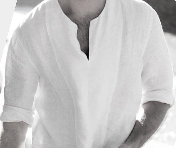 Blanc hommes chemises en lin chemise lin homme par AbysKidsLinen