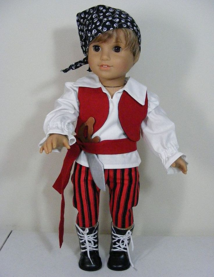 """Hand-crafted pirate outfit for 18"""" boy doll includes pants, shirt, vest, head scarf, and boots. This outfit was designed to fit 18"""" dolls such as American Girl©, Madame Alexander©, Our Generation©, My Life©, and others.   eBay!"""