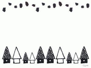 フリー素材:フレーム;北欧風の大人可愛いモノトーンの小さなお家;640×480pix