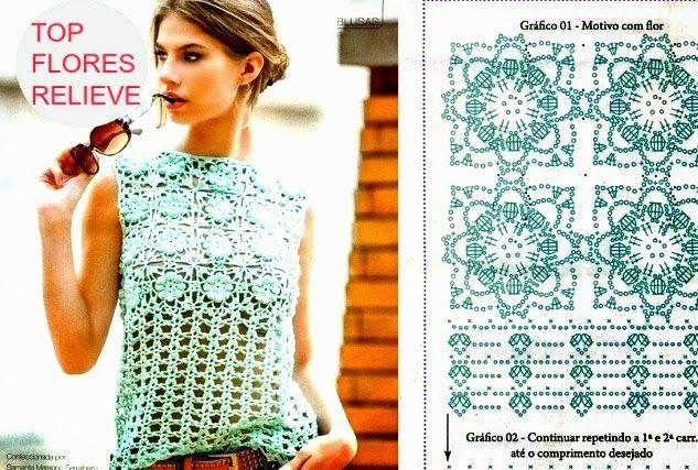 Top Crochet Flores relieve punto cuadrado - Patrones Crochet