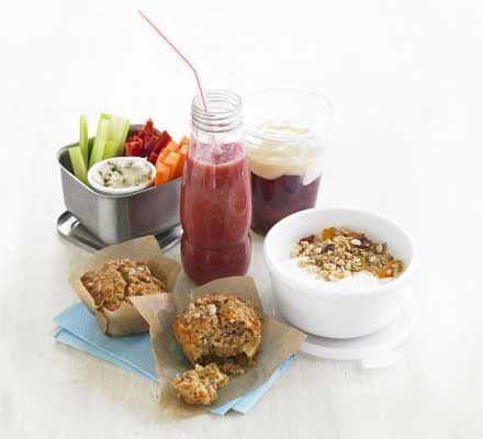 Lunchbox snacks:  bean dip with veggie sticks, raspberry banana smoothie, cinnamon custard plums, apricot yogurt granola pots, carrot & pineapple muffins