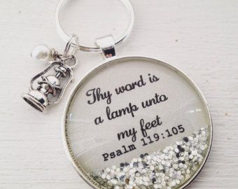 Bible verse necklace, psalm 119:105, Thy word is a lamp unto my feet, Christian jewelry