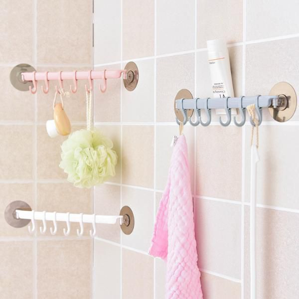5 16 21 Off لاصق قوي رف الجدار الالتصاق 6 السنانير منشفة الحمام المطبخ حامل المصاص شماعات الحمام قوية هوك ت Bathroom Towels Hanger Organizer Bath Clothes