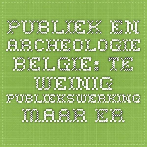 Publiek en archeologie Belgie: Te weinig publiekswerking  Maar er is een bijkomende drijfveer om Ex situ gratis te maken. Momenteel is er een gebrek aan visie bij de Vlaamse overheid op publiekswerking in de archeologie. Te veel hangt het bekendmaken van archeologisch onderzoek af van enthousiaste enkelingen.
