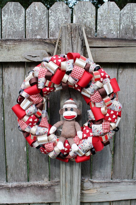 Sock Moneky Themed Ribbon Wreath for Birthday Party by KraftinMommy