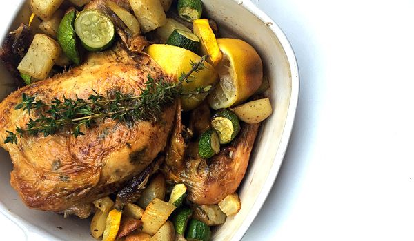 Lemon Thyme and  Garlic Roasted Chicken  High Protein, High Fat and Low Carb #lchf  #healthy #recipes #nutreats