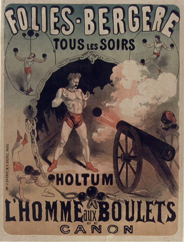 1874, Jules Chéret, Holtum l'homme aux boulets de canon, Folies-Bergère, Paris (Bibliothèque nationale de France) [Jules Cheret, Folies Bergere, Жюль Шере, Фоли-Бержер]