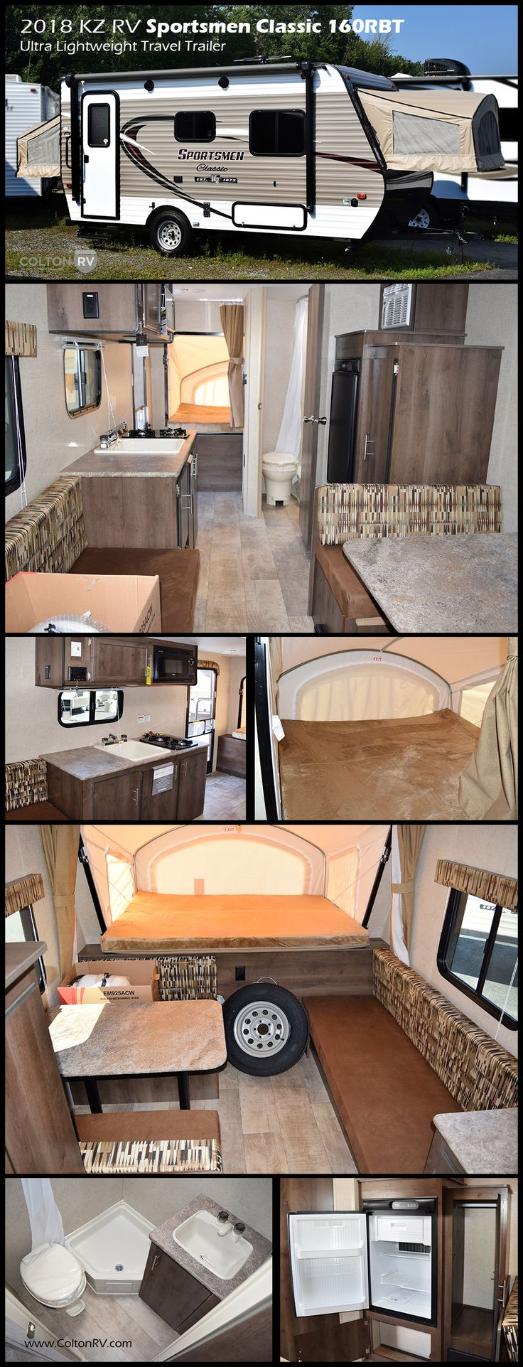 This KZ RV Sportsmen Classic 160RBT travel trailer is ultra-lightweight and easy to tow with all the comforts of home!