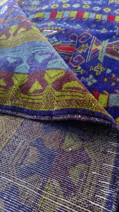 Afghaanse oude deken tapijt Oosterse handgeknoopte!!  Medium: grootte: 200x120cm.  Het tapijt is prachtig mooi voorwaarde!!! Geometrische ruimte Rug vazen Design Palenque Hand geknoopt wol  Wij garanderen dat het bovenstaande tapijt een echte handgeknoopte oosterse tapijt is. Statuut: Mooie tapijt