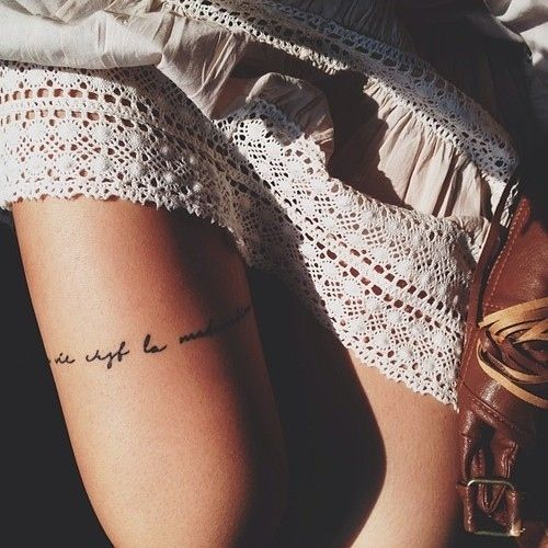 Thigh Wrap Around ~ I want typography wrapped around with a bow in the back. The only tattoo I would get on my thigh