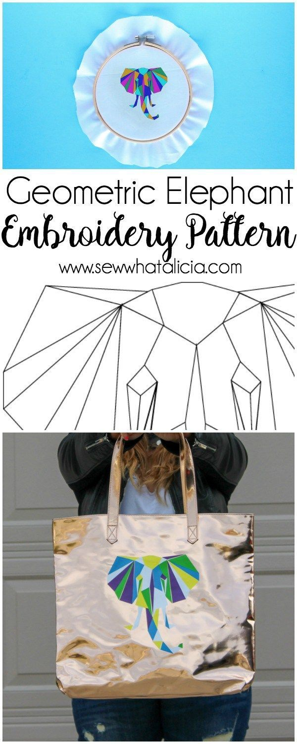 Geometric elephant svg and embroidery pattern silhouette