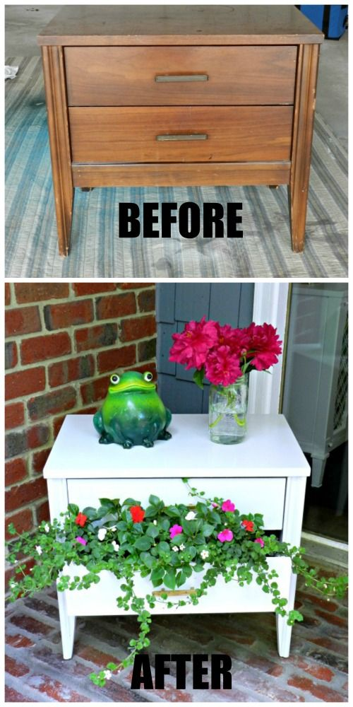 This thrifty nightstand flower planter is so