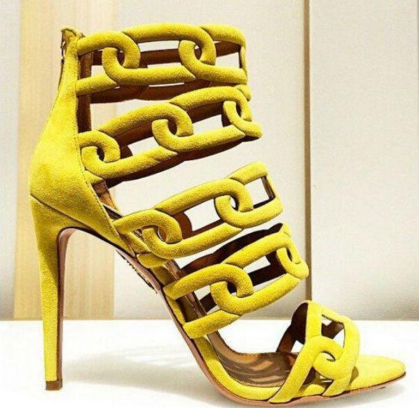 Pas cher Sandalias Gladiadoras 2016 Chaînes En Daim Gladiateur Sandales Femmes Chaussons Mode Haute Talons Femmes Sandales Jaune D'été Chaussures, Acheter  Sandales pour femmes de qualité directement des fournisseurs de Chine: