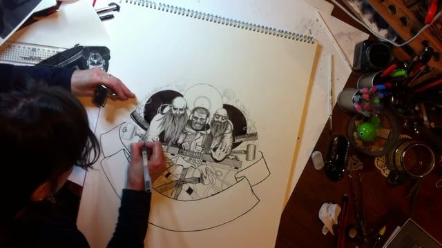 People often ask me to 'just' do this or to 'quickly' get something drawn up - well, this film shows the hours of work which can go into a piece!    Roughed out in a sketchbook then hand-drawn in pencil, followed by a time-consuming but joyful stage of inking-in, this piece took a total of just shy of 11 hours in total, across two days.    It's for the sleeve of our third record release on Blunt Force Trauma records, and is an AA side called 'You Can't Win' by the Epic Beard Men - Sage…