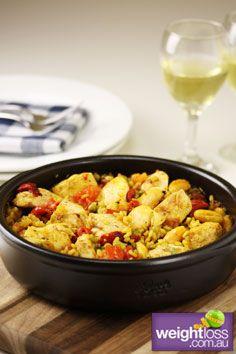 Healthy Chicken Recipes: Spanish Chicken with Rice. weightloss.com.au  #HealthyRecipes #WeightlossRecipes #DietRecipes
