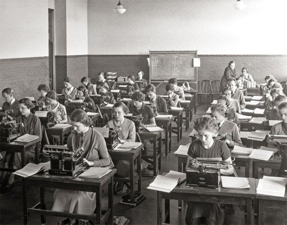 Bethesda Maryland, Chevy Chase High School Typing Class Photo, Royal Typewriters, Wall Art, Black White Photography, Home Decor,  Photos
