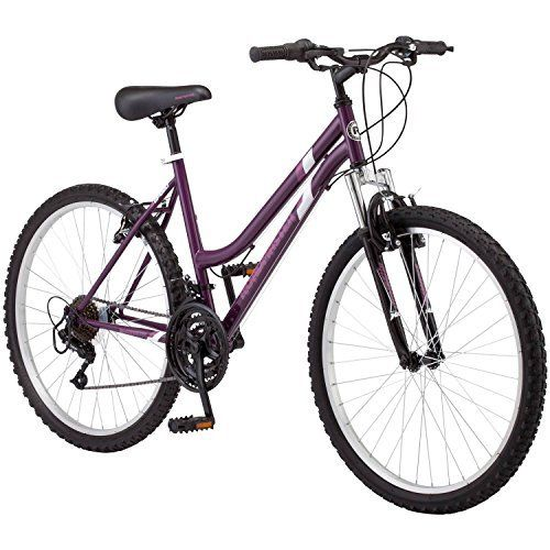 """Product review for 26"""" Roadmaster Granite Peak Women's Bike, Purple - The Granite Peak 26-inch Women's Mountain Bike by Roadmaster is an excellent all-around mountain bike that is right at home on a rugged unpaved path or cruising the streets in your neighborhood. It sports a steel mountain frame and a front suspension fork, ensuring that each ride is..."""
