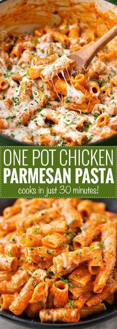 One Pot Chicken Parmesan Pasta ~ Great chicken parmesan flavors combine with pasta in this one pot meal that's ready in 30 minutes! | https://thechunkychef.com