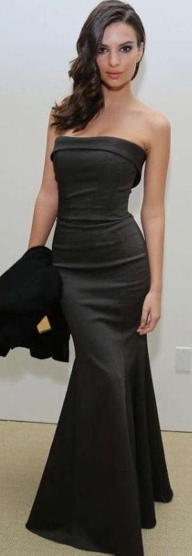"""''EMILY RATAJKOWSKI"""" - Strapless Maxi Black Dress #emily"""