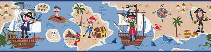 Hide & Seek Pirate Wallpaper Border HAS01161B - papermywalls.com