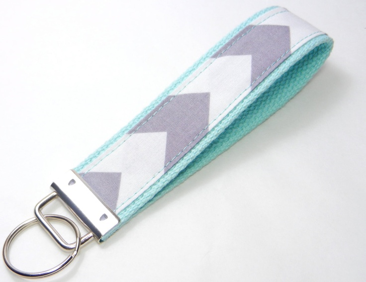 Key Fob Keychain Wristlet Grey White Chevron Fabric on Aqua Blue Cotton Webbing. $6.50, via Etsy.