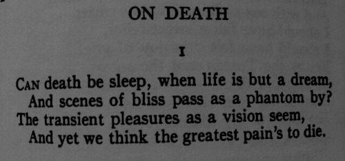 """""""On Death"""" by John Keats."""
