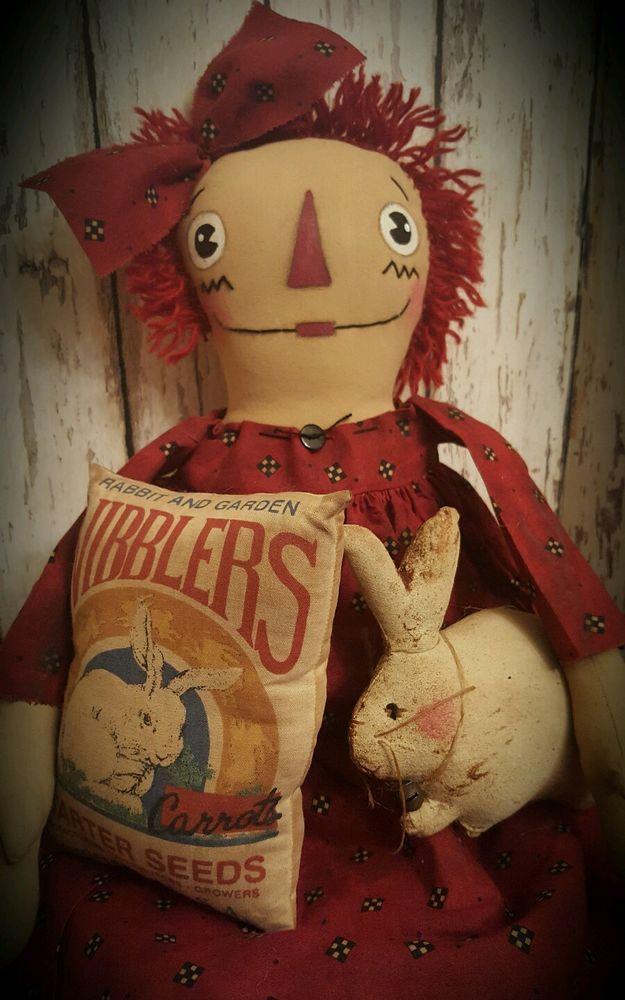 Primitive Raggedy Ann Doll w/ Rabbit  & Feed Sack~*~Annie~*~Farm