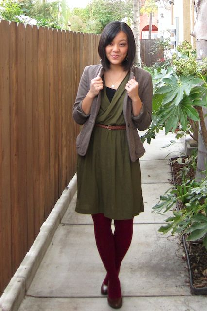 Olive dress grey blazer wine tights camel leather - Olive green and grey ...