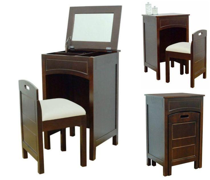 Bedroom Vanity Set Wood Table Seat Chair Modern Desk Storage Makeup Dressing #LaMontLimited #Modern