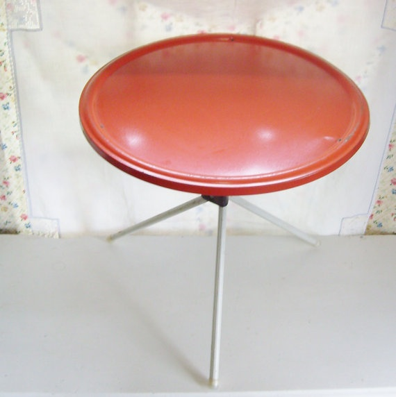 SOLD Vintage Orange Metal Side Table Perfect For Your Patio, Rv Or Camping  Folds For