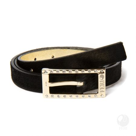 FERI - Marzia Belt - Black  - Ladys hip belt - Made from genuine cow leather - Rich black colouring - Hand made and hand dyed - Buckle is custom engraved with FERI logos - Embellished with sparkling clear stones  Please refer to size chart to determine your size. www.gwtcorp.com/ghem or email fashionforghem.com for big discount