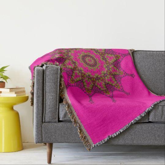 3D Art Mandala Throw Blanket by www.zazzle.com/htgraphicdesigner* #zazzle #throw #blanket #throwblanket #pink #homedecor #gift #giftidea #mothersday