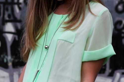 mint green <3: Mint Green, Fashion, Mint Shirt, Style, Clothes, Green Top, Color, Sheer Mint, Mint Top