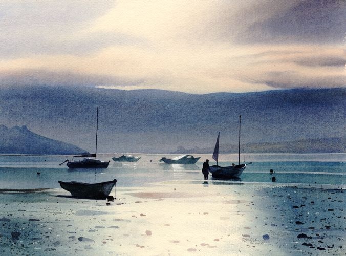 Still morning at Borth Y Gest, an original watercolour painting by Rob Piercy
