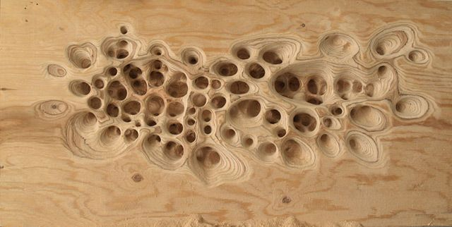 Michael Kukla made these amazing sculptures. He wants to create organic surfaces by drilling and grinding out cellular-like structures in marble or plywood slabs. Very impressive work.