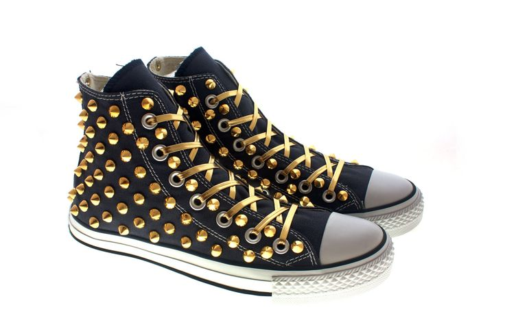 Studded Converse Gold cone high tops