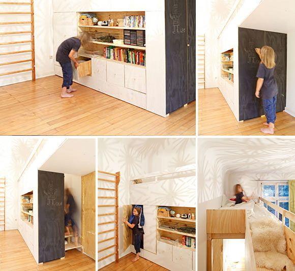 """The Swiss Army Knife"" of Kid's Bedrooms. Custom built-in loft bed for kids with secret passages, trap doors, and hideaways. A Kid's Dream!"