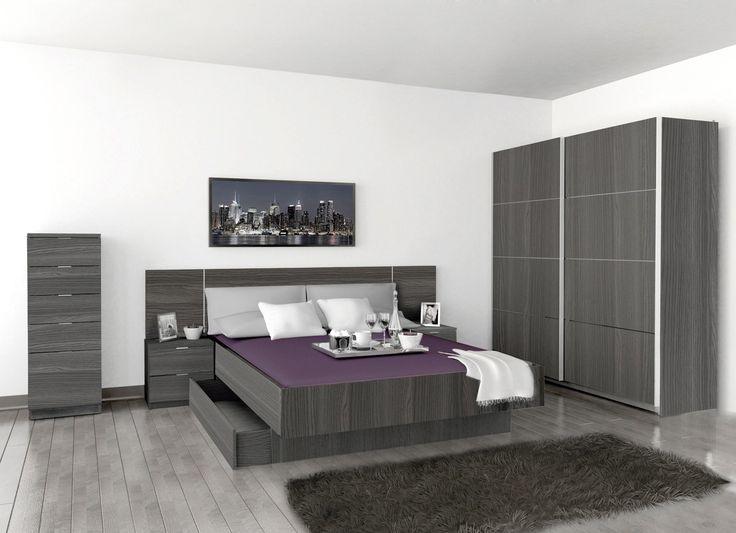 Dormitorio Gabro compuesto de : 1 armario Norita puertas correderas de 180x60x220cms 2 mesitas 1 xinfonier 1 cabezal de 259x2.5x50.3cms 1 cama bañera acoplable a cabezal medidas disponibles:140/150/160cms 2 cajones acoplables a cama Acabado en aglomerado Finish Foll Color ceniza Se sirve en Kit de fácil montaje y con instrucciones claras