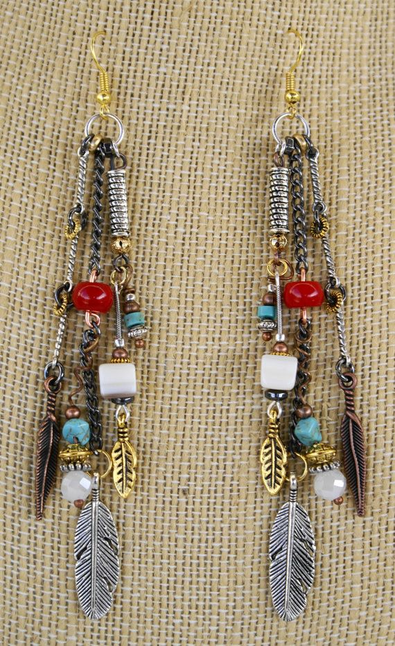 Boho Chic Mixed Metal 3 Feather Turquoise Dangle Chain Earrings by   The Welder's Daughter