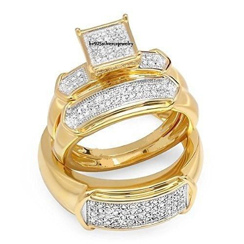 14K Yellow Gold Matching His Her Engagement Bridal Ring Diamond Wedding Trio Set #br925Silverczjewelry #EngagementWeddingAnniversaryPartyDailyWear