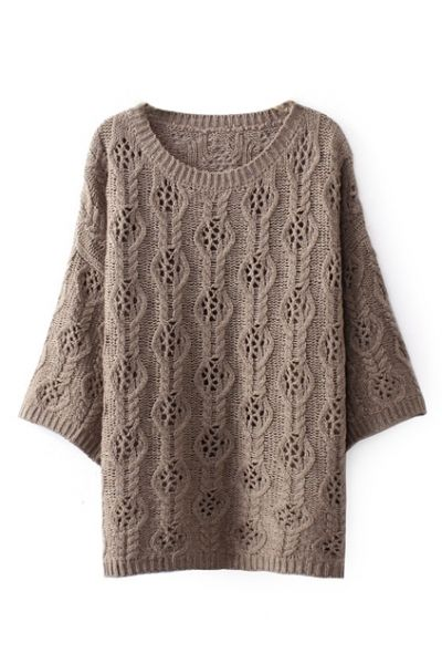 stay cosy this season in a chic brown jumper, featuring solid color design with hollow-out pattern knitted, round neck and cropped sleeves
